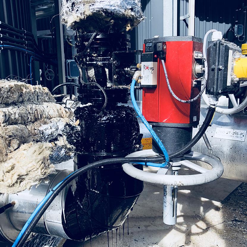 Bitumen lekkasje - før tørrisblåsing