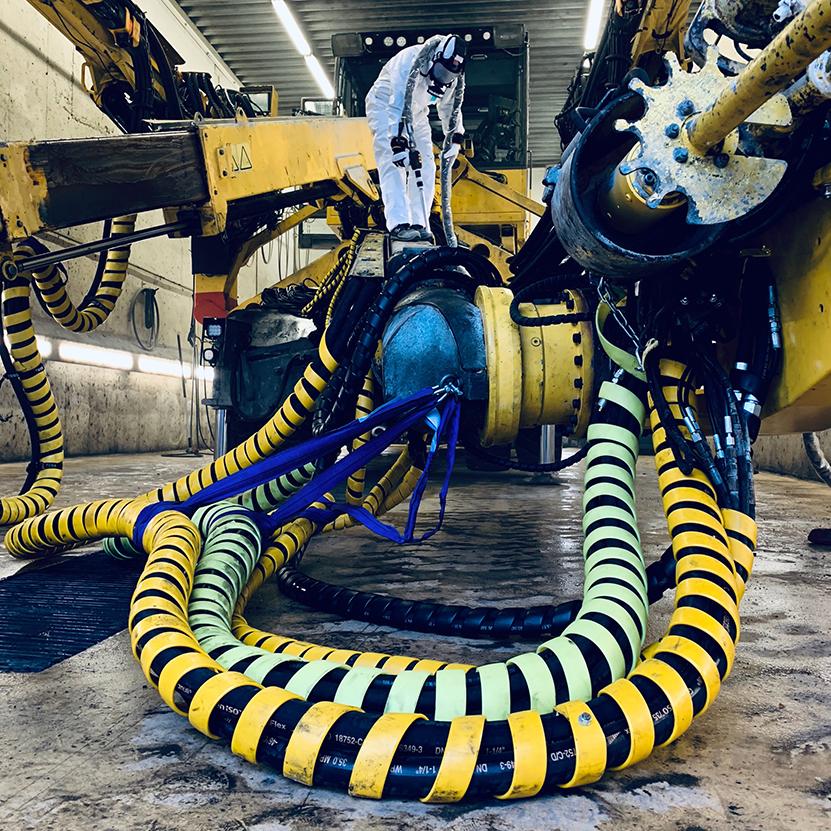Tørrisblåsing av tunnel boremaskin, Veidekke